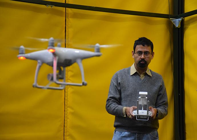 Amit Sanyal piloting drone