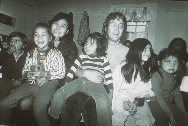 John & Yoko with children at the Everson, 1971 (Photo courtesy of Everson Museum of Art)