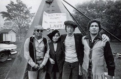 John & Yoko with faithkeeper Oren Lyons and Chief Leon Shenandoah, at the Onondaga Nation. (courtesy of Rex Lyons)