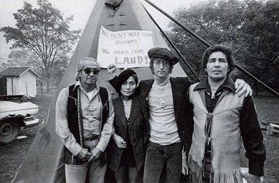 John & Yoko with faithkeeper Oren Lyons and Chief Leon Shenandoah, at the Onondaga Nation. (courtesy of Rex Lyons)