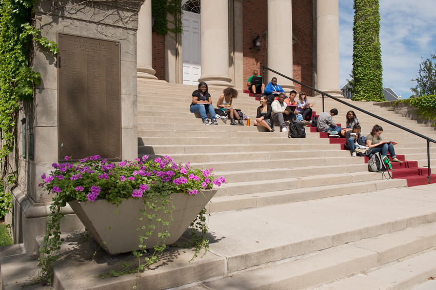 Class Outside Steps Hendricks Chapel
