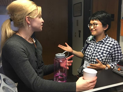 Kendall Fisher G'17, left, and Li Kang G'17, who have both attained academic positions in philosophy.