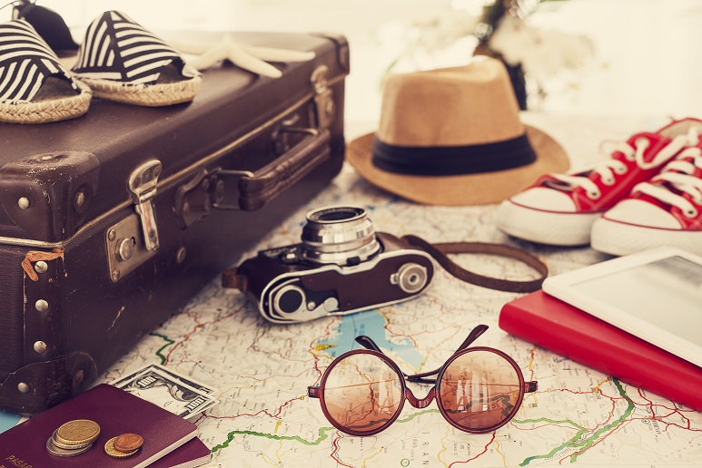 Ready vacation suitcase, holiday concept