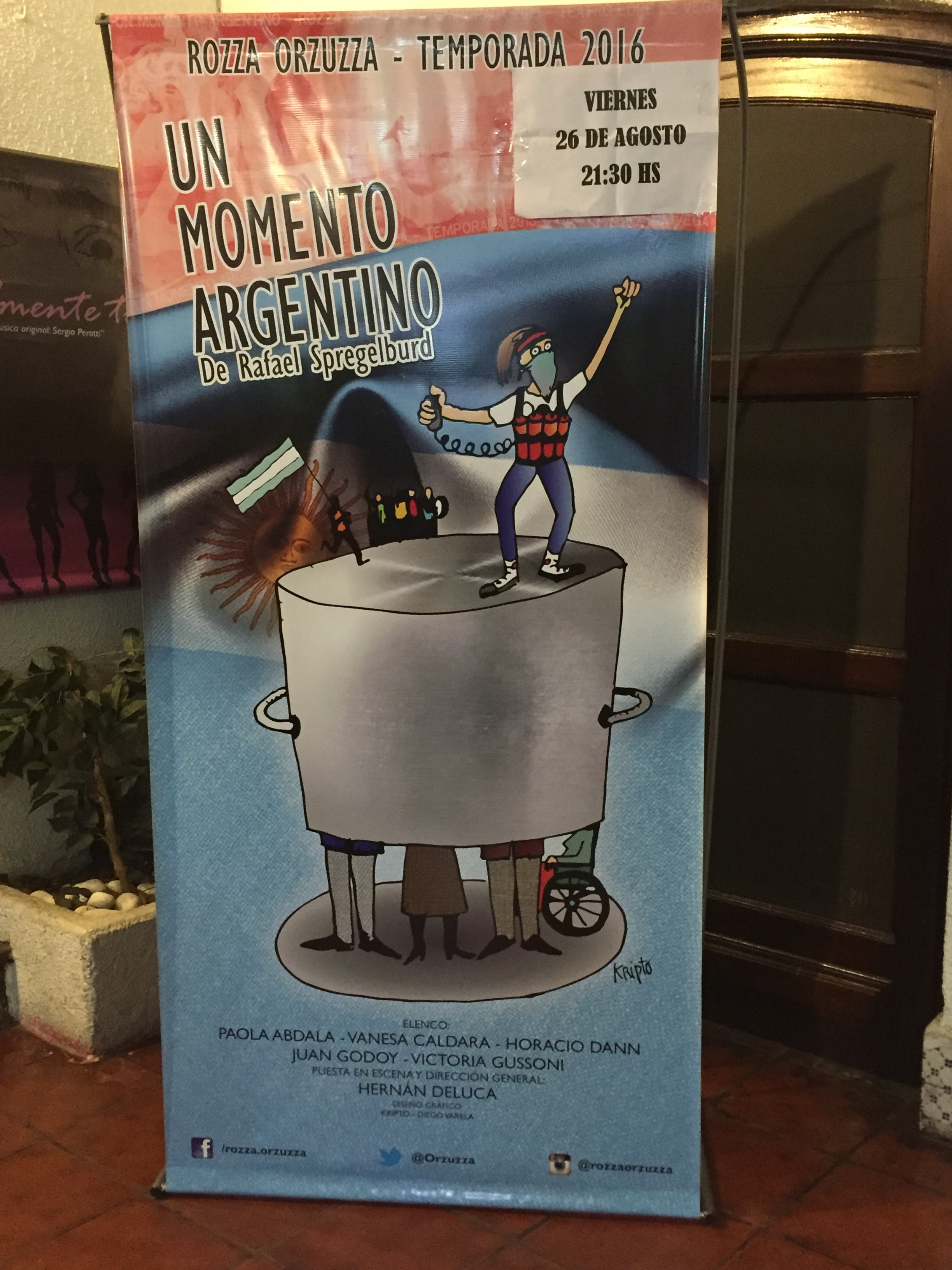 Publicity for Argentine play Un momento argentino (An Argentine Moment)