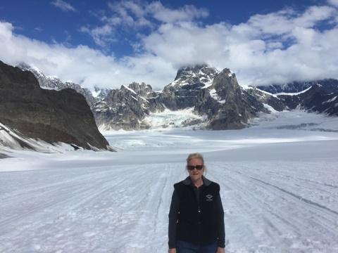 woman at mountains