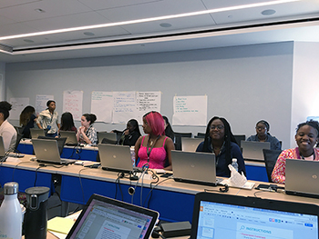 Simens' Girls Who Code class in Brooklyn