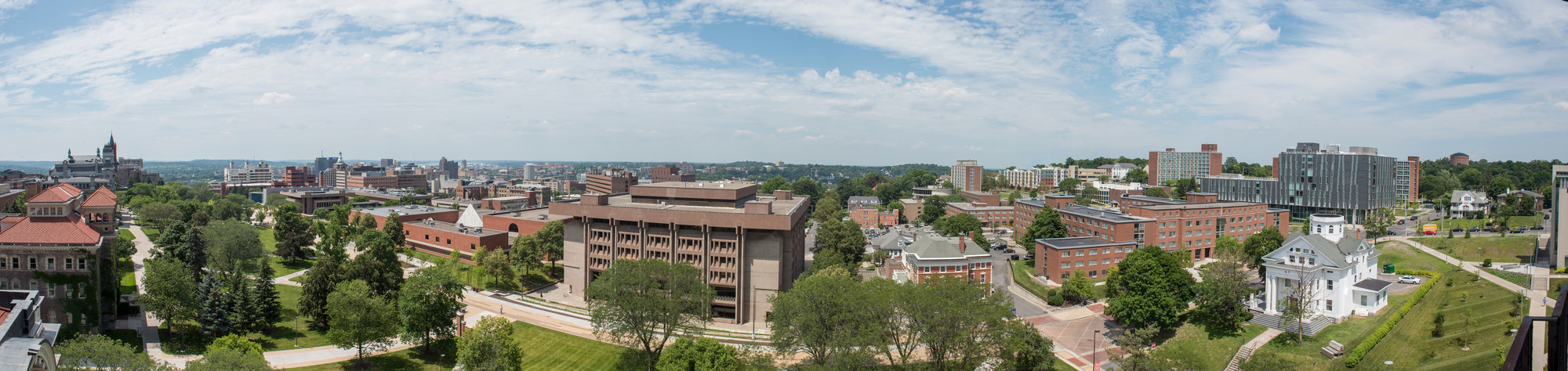 Panorama From Lyman Tower HL Hall Of Languages Smith Hall Newhouse Schine Promenade Einhorn Family Walk Bird Library Goldstein Faculty Center Watson Dorm Resedence Hall Ernie Davis Hall 2017