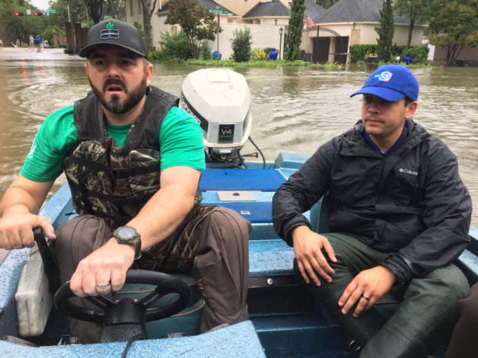 Nick Natario '08 (right) was part of the coverage team for KTRK-TV, and volunteer rescue crew during the days following Hurricane Harvey.