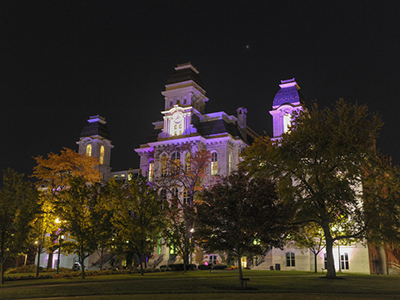 Hall of Languages lit in purple