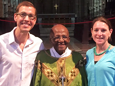 Brian and Kristen Konkol with Nobel laureate Desmond Tutu