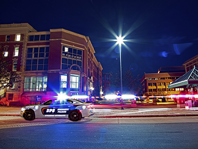 Department of Public Safety vehicle moves down College place