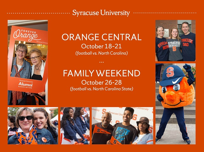 graphic with photos at Orange Central and Family Weekend