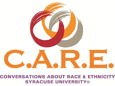 "C.A.R.E. logo--three different colored, overlapping circles with legend: ""C.A.R.E.--Conversations About Race & Ethnicity, Syracuse University"