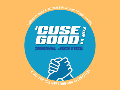 "Cuse for Good graphic: yellow background with blue circle, featuring clasped hands: words read ""Cuse for Good--a Day for Conversation and Celebration"