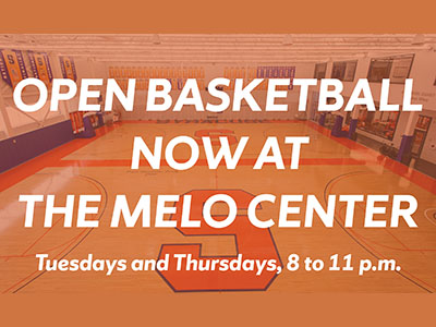 Notice about open basketball at Melo Center Tuesdays and Thursdays, 8-11 p.m.