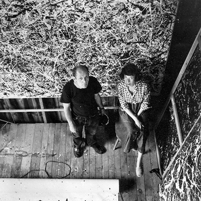 Lee Krasner and Jackson Pollock, taken from above