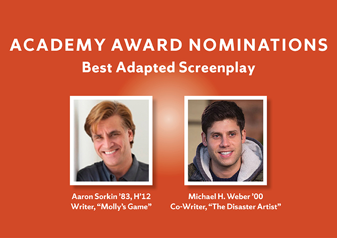 "graphic with photos of Aaron Sorkin and Michael Weber with ""Academy Award Nominations, Best Adapted Screenplay"
