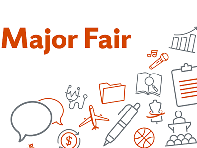 Major Fair banner with symbols of various majors