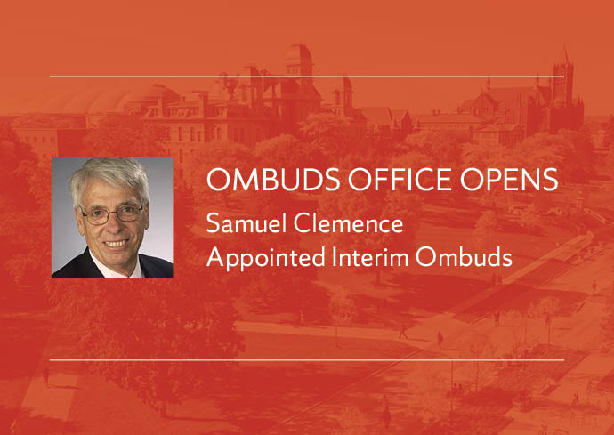 "photo of Samuel Clemence with legend: ""Ombuds Office Opens, Samuel Clemence Appointed Interim Ombuds"