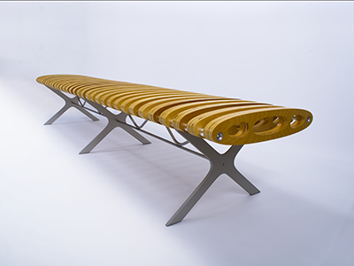 long wooden bench with regular gaps in seating surface