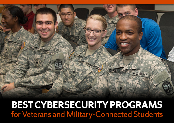 "photo of three people in military fatigues with legend: ""Best Cybersecurity Programs for Veterans and Military-Connected Students"""