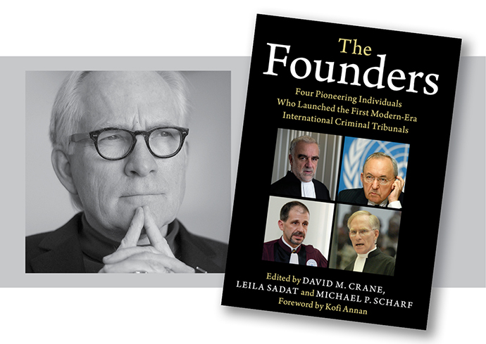 "book cover of ""The Founders"" alongside photo of David Crane"
