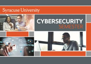 Cybersecurity graphic, with photos of students working on computers
