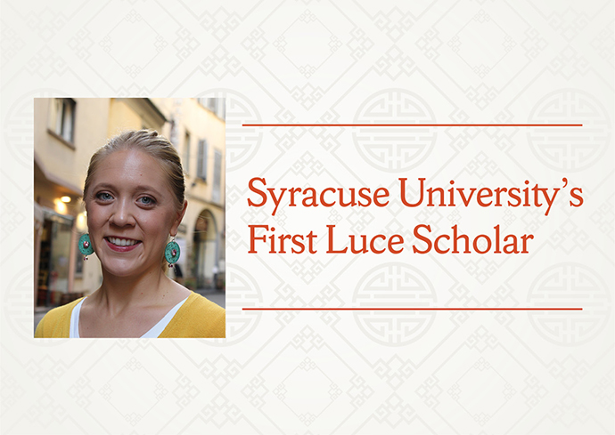 "photo of Laura Marsolek with ""Syracuse University's First Luce Scholar on patterned off-white background"