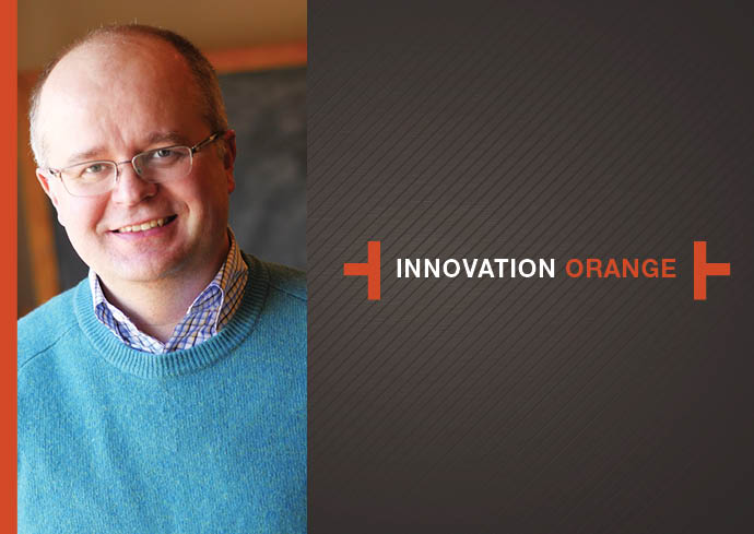 photo of Roger Hallas with Innovation Orange logo