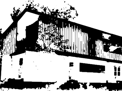 black and white, blurry image of building
