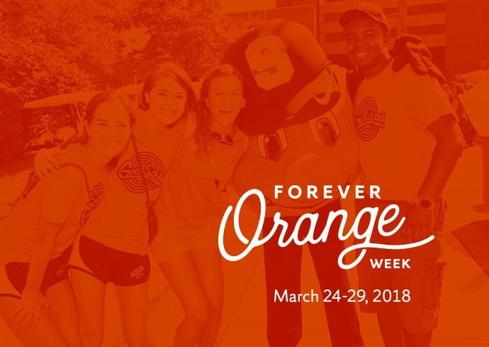 graphic of students with Otto with Forever Orange Week text