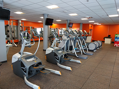 a row of fitness machines