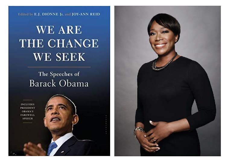"Joy-Ann Reid with the cover of her book ""We Are the Change We Seek"""