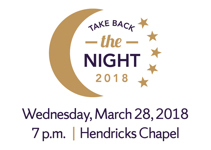 "Crescent moon and stars with ""Take Back the Night"" and ""Wednesday, March 28, 2018, 7 p.m., Hendricks Chapel"""