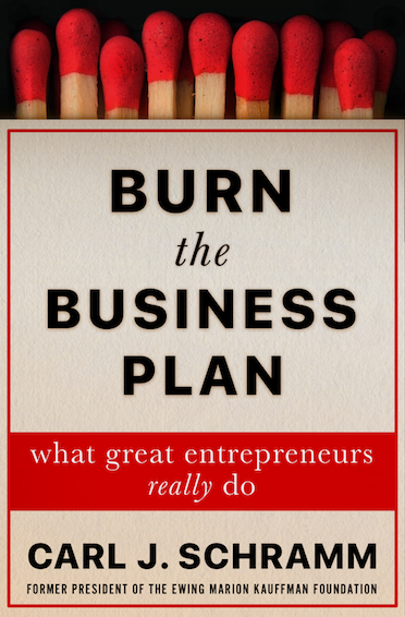 """Burn the Business Plan"" book cover with title and author on front of what looks like pack of matches"