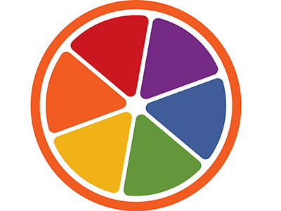 LGBT Resource Center logo: Orange slice down the middle, with slices of various colors