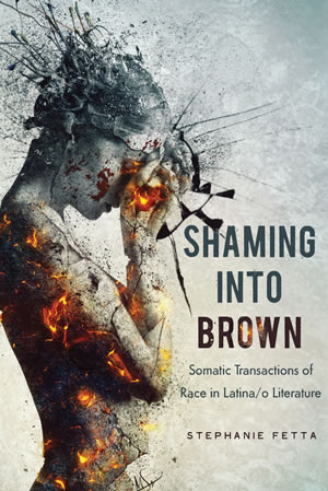 "book cover with nude woman with hand to forehead and ""Shaming into Brown"""