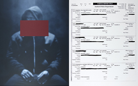 photo of African American young man in hoodie with face blocked out on left, with hard to read document on right
