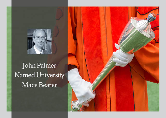 University Mace Bearer John Palmer, with photo of him and photo of mace