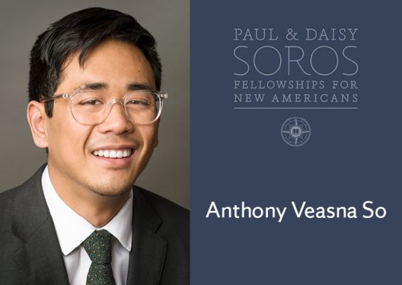 Anthony Veasna So photo and name with Paul and Daisy Soros Fellowships for New Americans