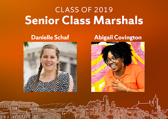 "photos of Danielle Schaf and Abigail Covington with ""Class of 2019 Senior Class Marshals"" and silhouette of University buildings"