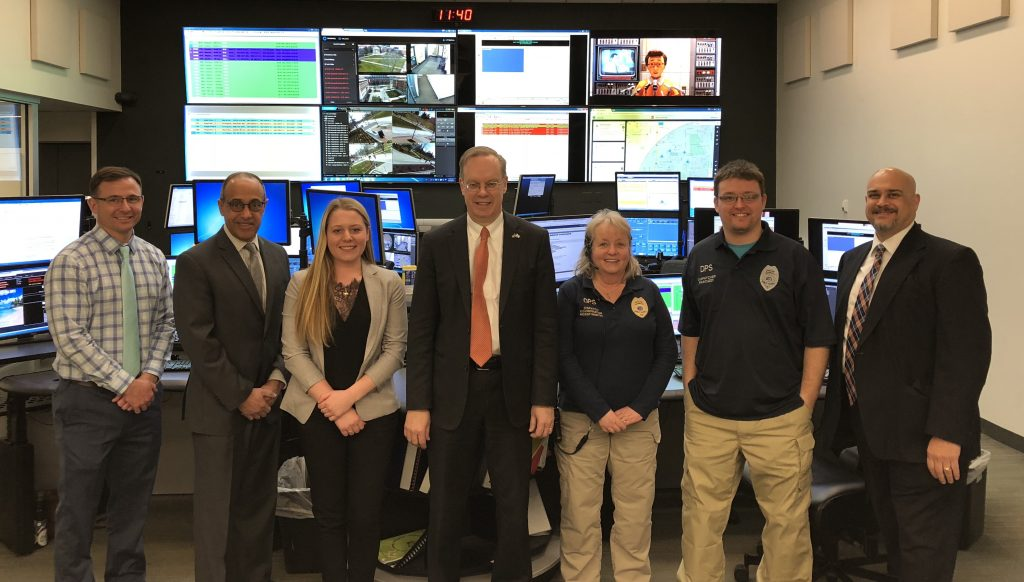 Phillip Cady, Emergency Communications Manager; Chief Maldonado; Marcella Becker, Community Services Officer and Dispatcher in Training; Chancellor; Linda Martin, Dispatcher; Andrew Pascuzzi, Dispatcher; Anthony Callisto, Senior Vice President and Chief Law Enforcement Officer