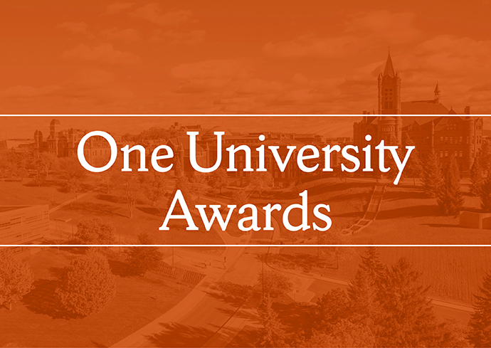 One University Awards on orange background with university buildings