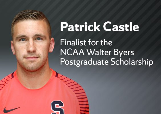 photo of Patrick Castle with name and 'Finalist for the NCAA Walter Byers Postgraduate Scholarship'