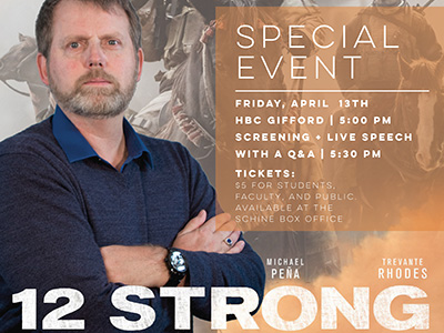 photo of Mark Nutsch with '12 Strong' and 'Special Event' with details of screening