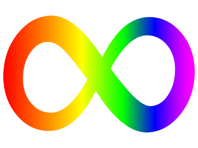 Autism awareness symbol, a figure 8 on its side in multiple colors