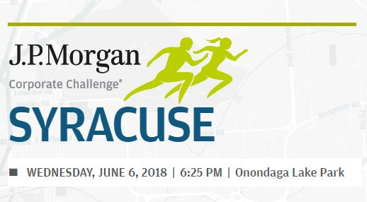 "banner for the Corporate Challenge, with ""JP Morgan Corporate Syracuse, Wednesday, June 6, 2018, 6:25 p.m.,Onondaga Lake Park, and two running figures in green"