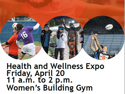 poster for Health and Wellness Expo, Friday, April 20, 11 a.m.-2 p.m., Women's Building Gym, with photos of people doing healthy things