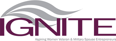 Ignite logo, with 'Inspiring Women Veteran & Military Spouse Entrepreneurs