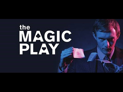"poster for ""The Magic Play"" with title and person doing a card trick"